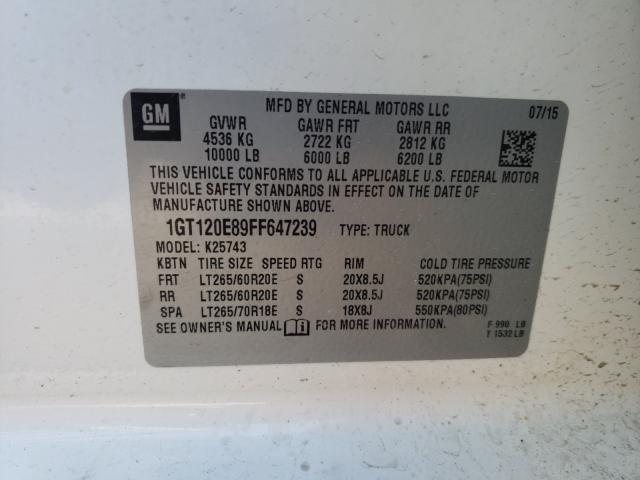2015 GMC SIERRA K25 1GT120E89FF647239