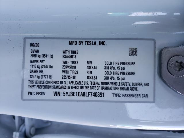 2020 TESLA MODEL 3 5YJ3E1EA8LF740391