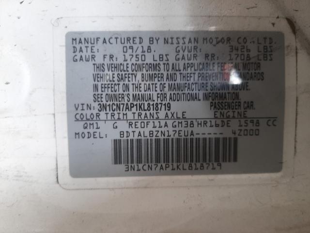 2019 NISSAN VERSA S 3N1CN7AP1KL818719