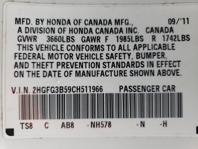2012 HONDA CIVIC LX 2HGFG3B59CH511966