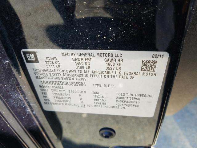 2011 GMC ACADIA SLT 1GKKRRED0BJ305904