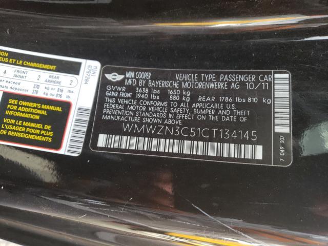 2012 MINI COOPER WMWZN3C51CT134145