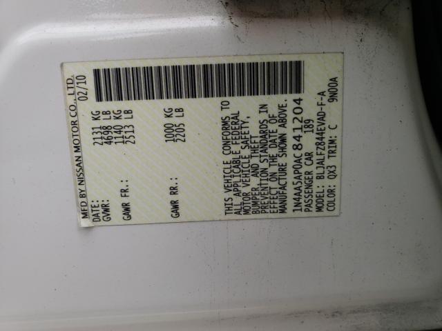 2010 Nissan MAXIMA   Vin: 1N4AA5AP0AC841204