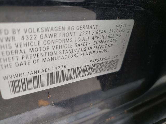 2010 Volkswagen CC   Vin: WVWNL7AN6AE514276
