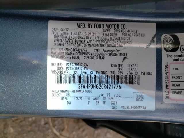 2012 FORD FUSION SE 3FAHP0HG2CR421776