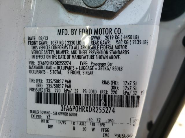 2013 FORD FUSION SE 3FA6P0HRXDR255274