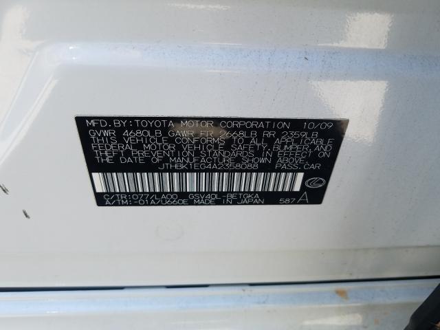 2010 LEXUS ES 350 JTHBK1EG4A2358088