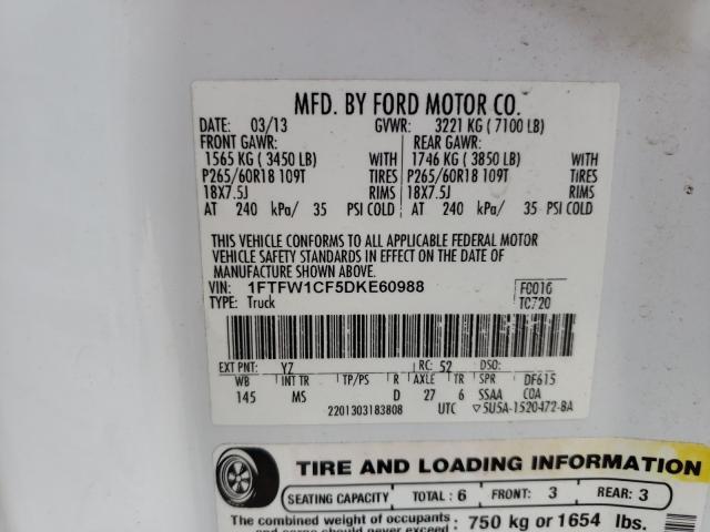 2013 FORD F150 SUPER 1FTFW1CF5DKE60988