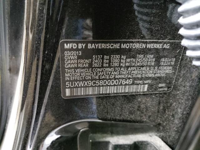 2013 BMW X3 XDRIVE2 5UXWX9C58D0D07649