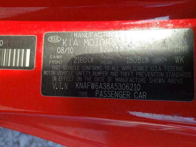 2010 KIA FORTE SX KNAFW6A38A5306210