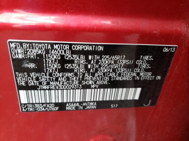 2013 TOYOTA RAV4 XLE JTMRFREV3DD029313
