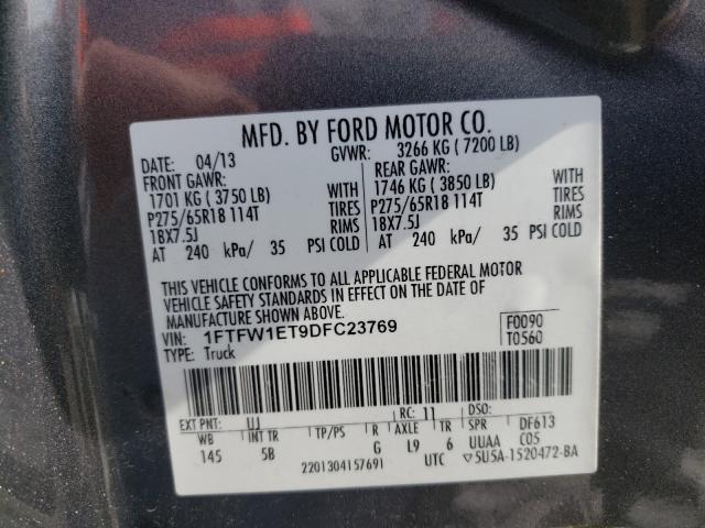 2013 FORD F150 SUPER 1FTFW1ET9DFC23769
