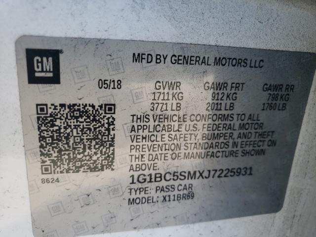 2018 CHEVROLET CRUZE LS 1G1BC5SMXJ7225931