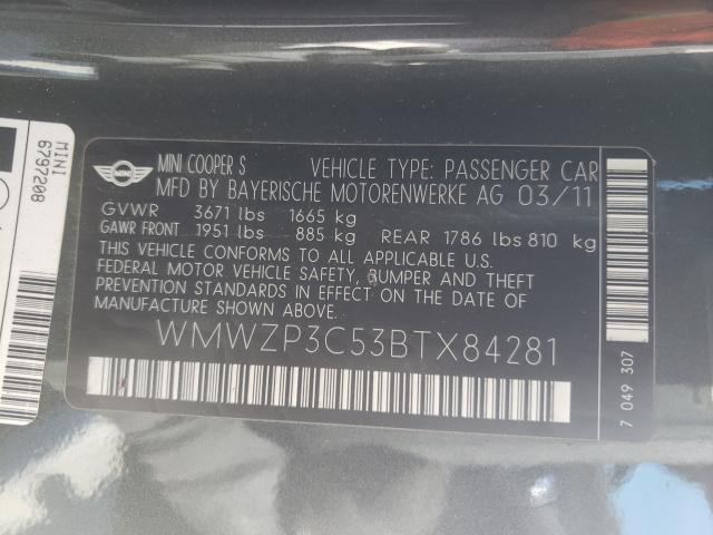 2011 MINI COOPER S WMWZP3C53BTX84281