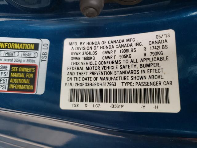 2013 HONDA CIVIC LX 2HGFG3B59DH517963
