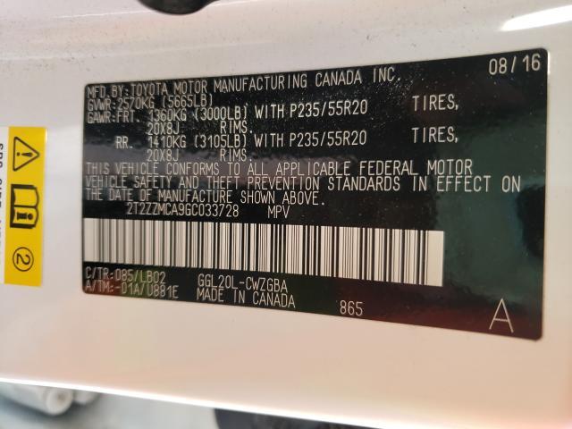 2016 LEXUS RX 350 2T2ZZMCA9GC033728
