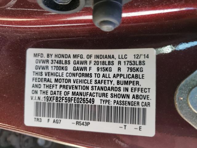 2015 HONDA CIVIC LX 19XFB2F59FE026549