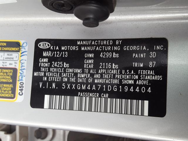 2013 KIA OPTIMA LX 5XXGM4A71DG194404