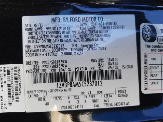 2012 FORD MUSTANG 1ZVBP8AM5C5237012