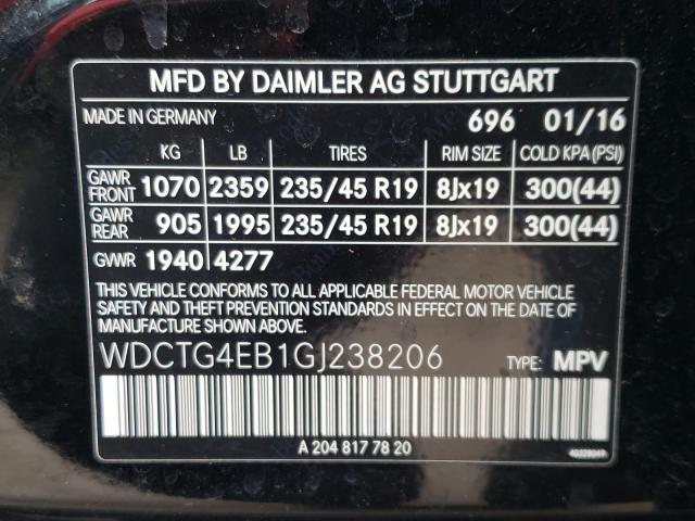 2016 MERCEDES-BENZ GLA 250 WDCTG4EB1GJ238206