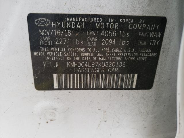 2019 HYUNDAI ELANTRA SP KMHD04LB7KU820136