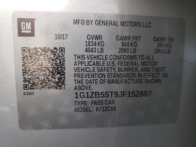 2018 CHEVROLET MALIBU LS 1G1ZB5ST9JF152887