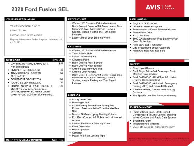 2020 FORD FUSION SEL 3FA6P0CD3LR196174