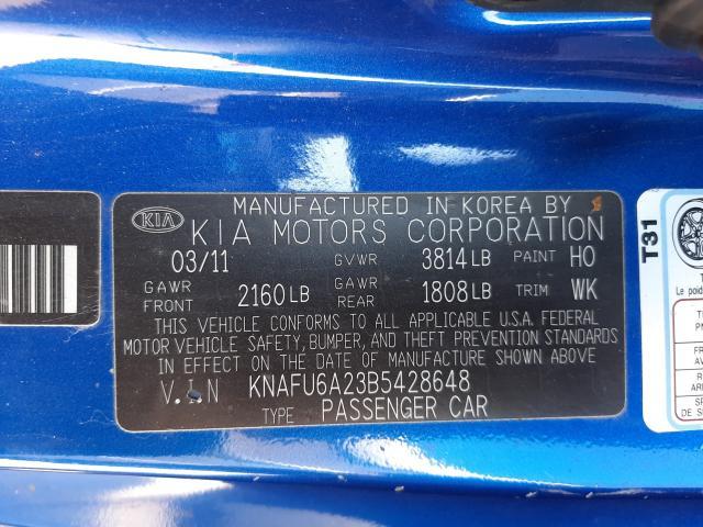 2011 KIA FORTE EX KNAFU6A23B5428648