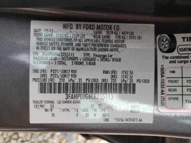 2012 FORD FUSION SEL 3FAHP0JG6CR255112