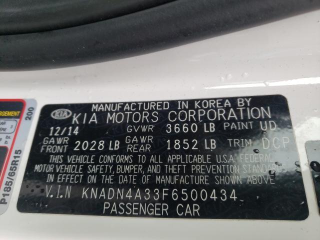 2015 KIA RIO EX KNADN4A33F6500434
