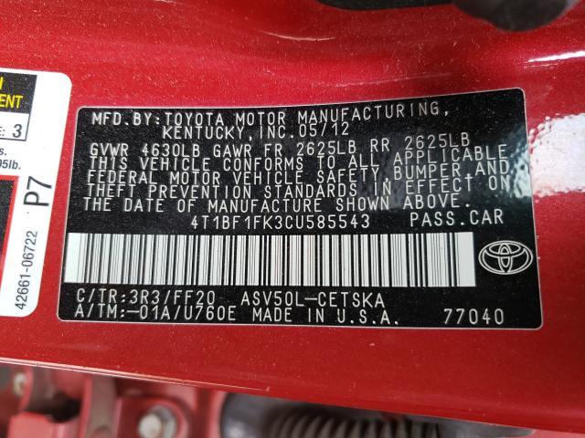 2012 TOYOTA CAMRY BASE 4T1BF1FK3CU585543