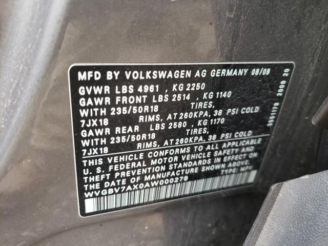 2010 VOLKSWAGEN TIGUAN SE WVGBV7AX0AW000279
