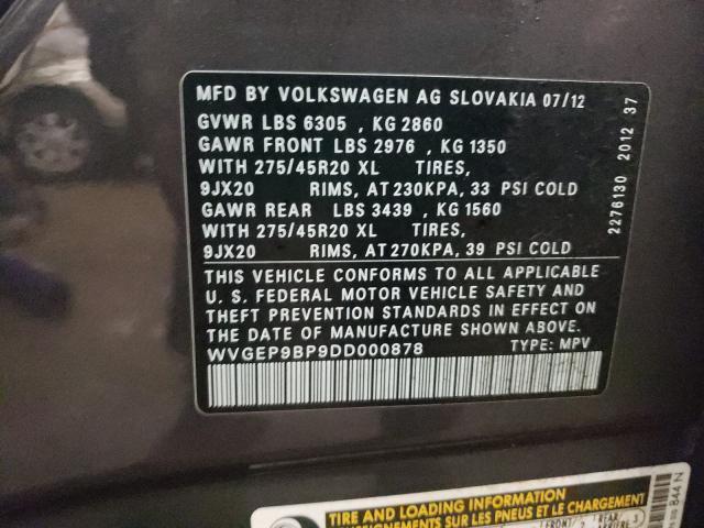 2013 VOLKSWAGEN TOUAREG V6 WVGEP9BP9DD000878
