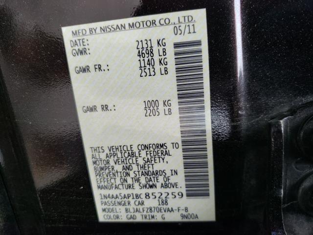 2011 NISSAN MAXIMA S 1N4AA5AP1BC852259