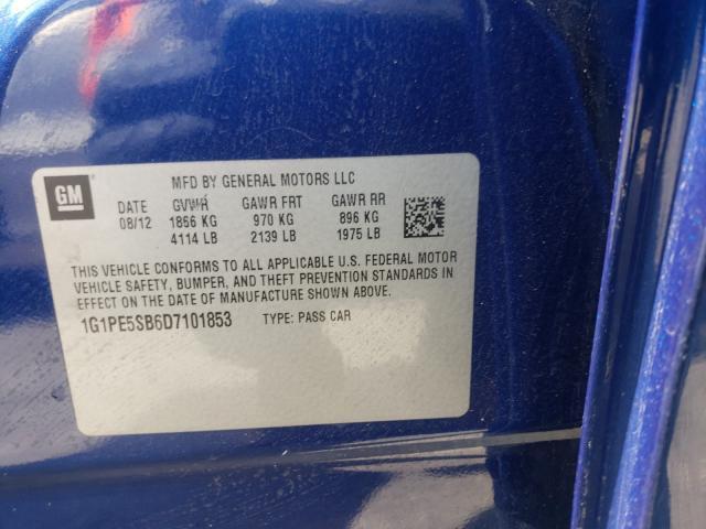 2013 CHEVROLET CRUZE LT 1G1PE5SB6D7101853