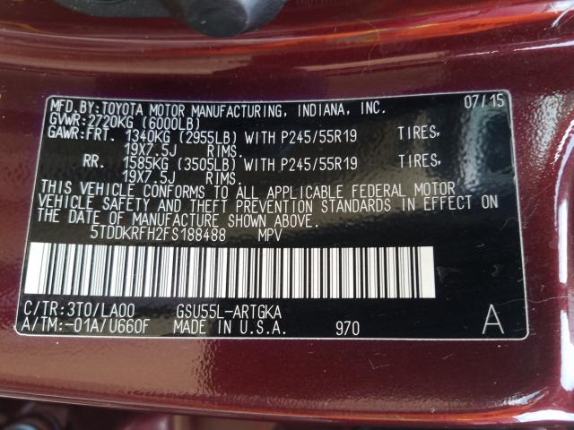 2015 Toyota Highlander 3.5L, VIN: 5TDDKRFH2FS188488, аукцион: COPART, номер лота: 42099401