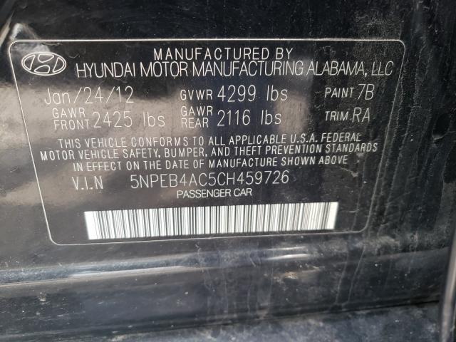 2012 HYUNDAI SONATA GLS 5NPEB4AC5CH459726