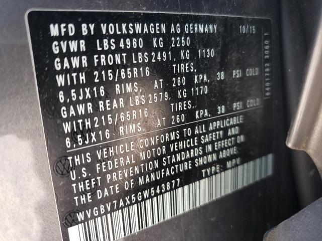 2016 VOLKSWAGEN TIGUAN S WVGBV7AX5GW543877
