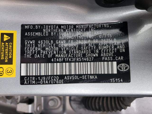 2015 TOYOTA CAMRY LE, 4T4BF1FK3FR****** - 10
