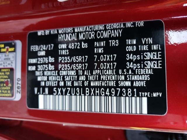 2017 HYUNDAI SANTA FE S 5XYZU3LBXHG497381