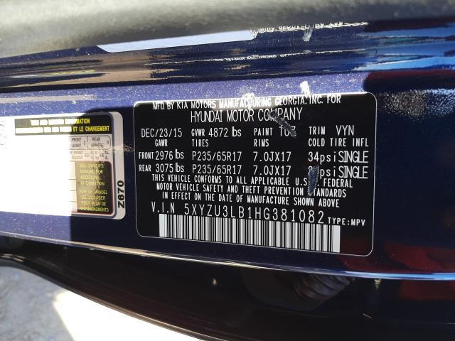2017 HYUNDAI SANTA FE S 5XYZU3LB1HG381082