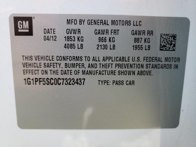2012 CHEVROLET CRUZE LT 1G1PF5SC0C7323437
