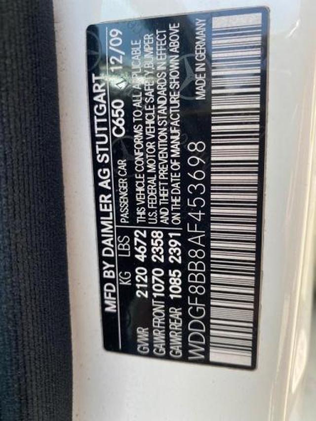 2010 MERCEDES-BENZ C 300 4MAT WDDGF8BB8AF453698