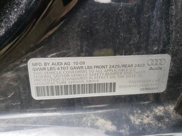 2010 AUDI A4 PREMIUM WAUAFAFL3AN025597