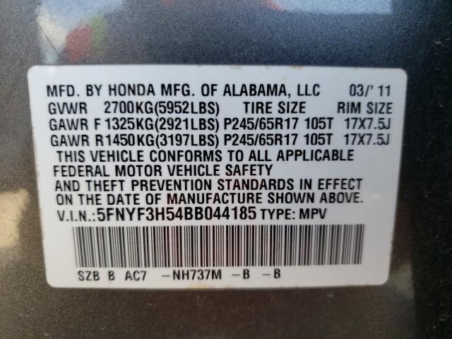 2011 HONDA PILOT EXL 5FNYF3H54BB044185