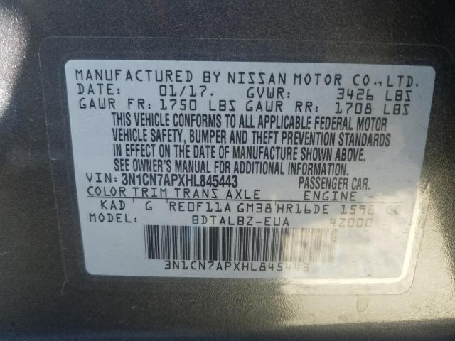 2017 NISSAN VERSA S 3N1CN7APXHL845443
