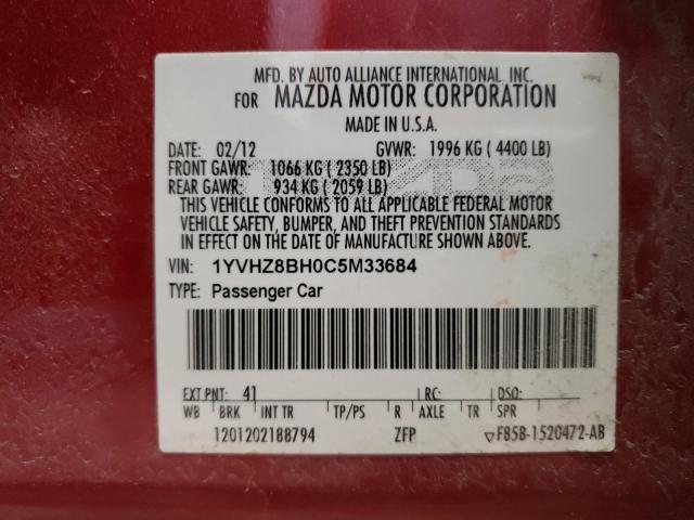 2012 MAZDA 6 I 1YVHZ8BH0C5M33684