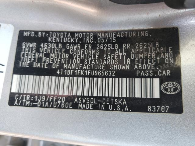 2015 TOYOTA CAMRY LE 4T1BF1FK1FU965632