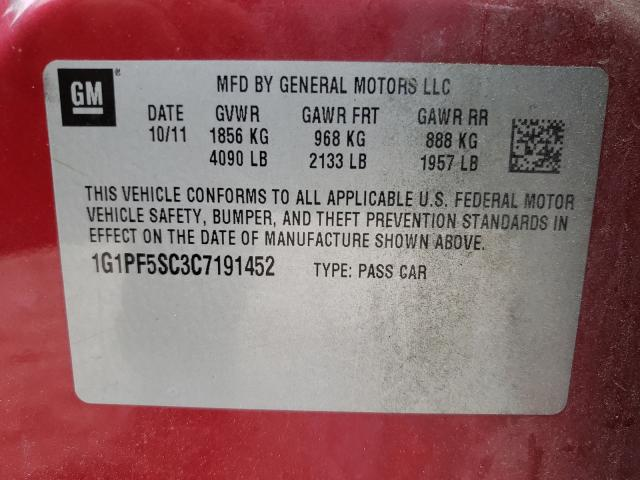 2012 CHEVROLET CRUZE LT 1G1PF5SC3C7191452