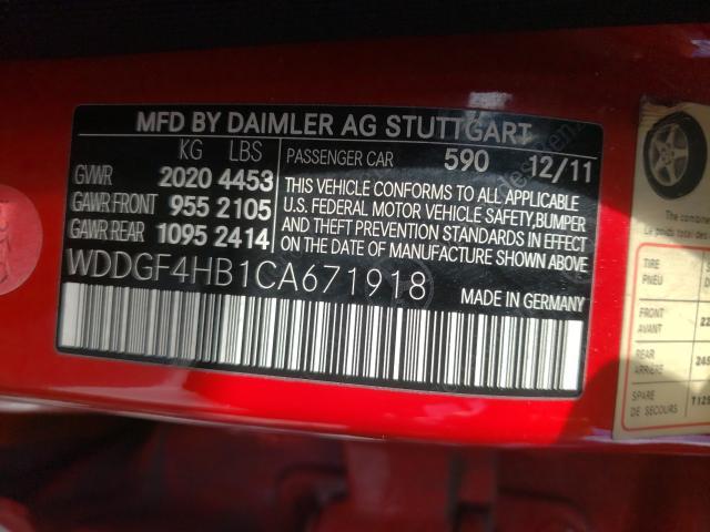 2012 MERCEDES-BENZ C 250 WDDGF4HB1CA671918